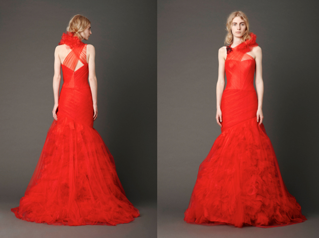 Looking Sophisticated With Vera Wang Red Wedding Dresses Sangmaestro
