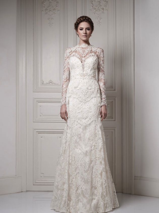 a-line silhouette wedding dress with long lace sleeves ...